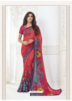 Dark Peach Designer Casual Wear Pure Georgette Sari