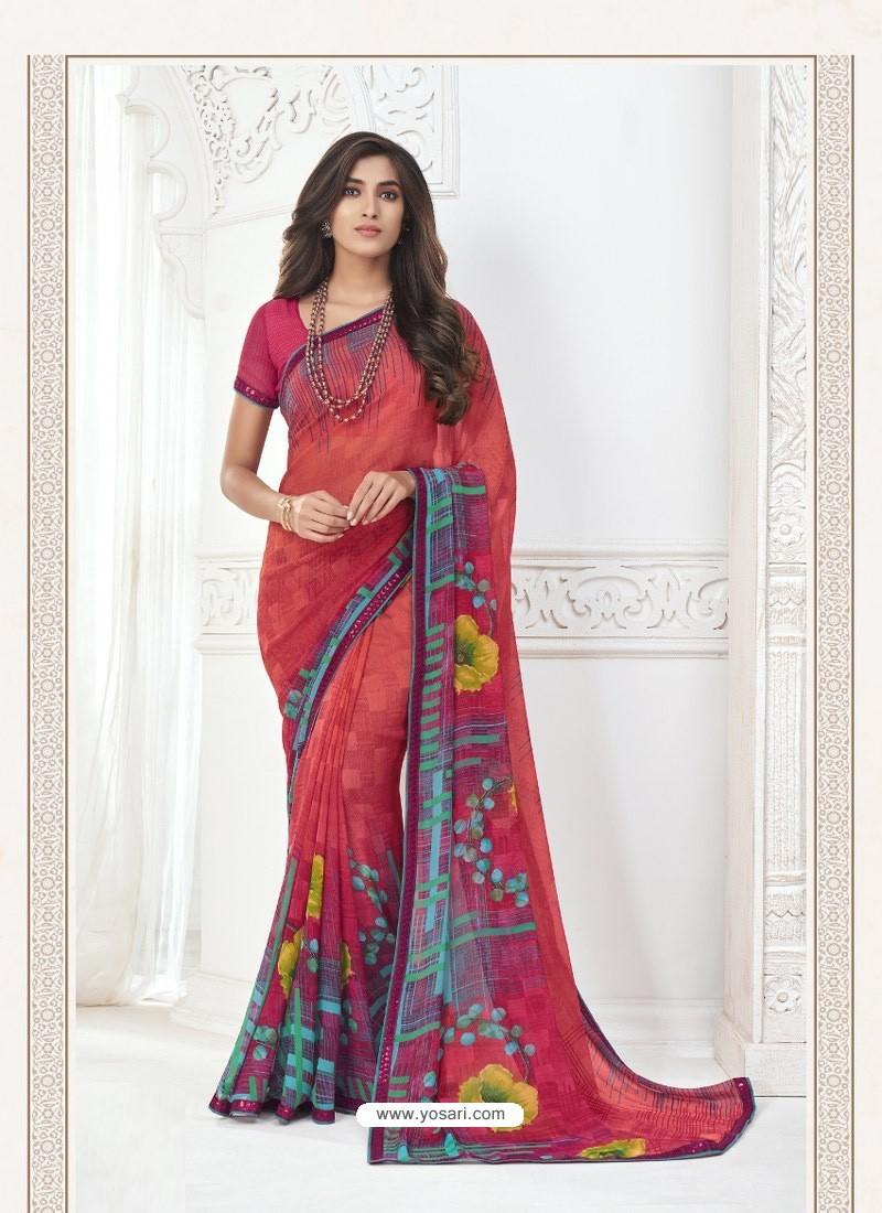 Dark Peach Designer Casual Wear Pure Georgette Sari