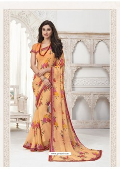 Light Orange Designer Casual Wear Pure Georgette Sari