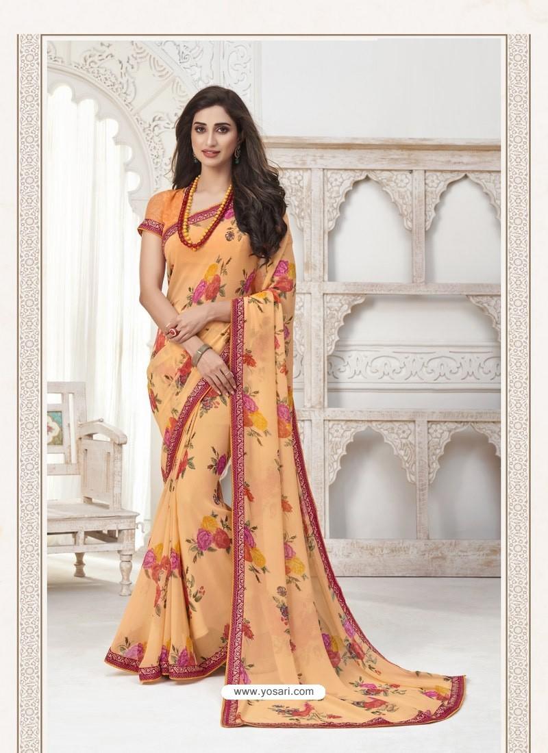 Light Orange Designer Casual Wear Pure Georgette Sari