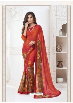 Red Designer Casual Wear Pure Georgette Sari