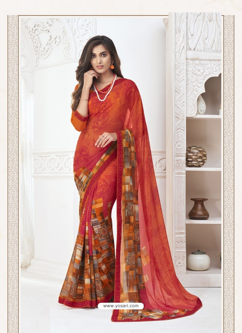 Red Designer Casual Wear Pure Georgette Sari