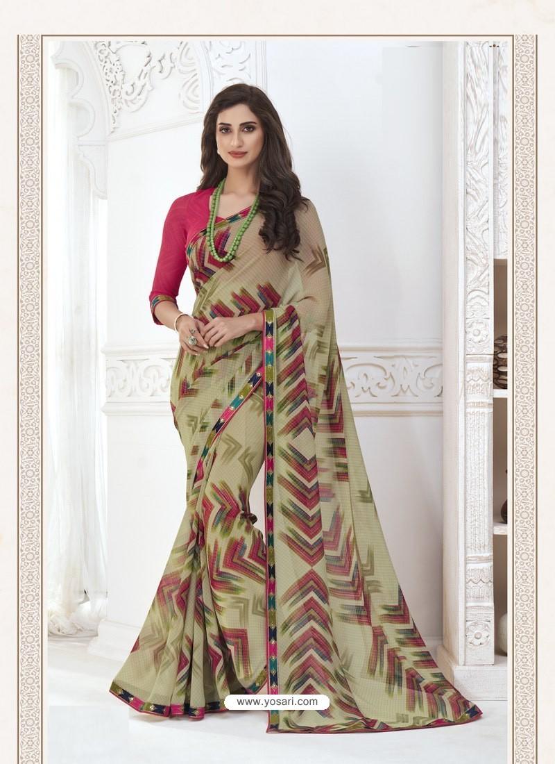 Taupe Designer Casual Wear Pure Georgette Sari