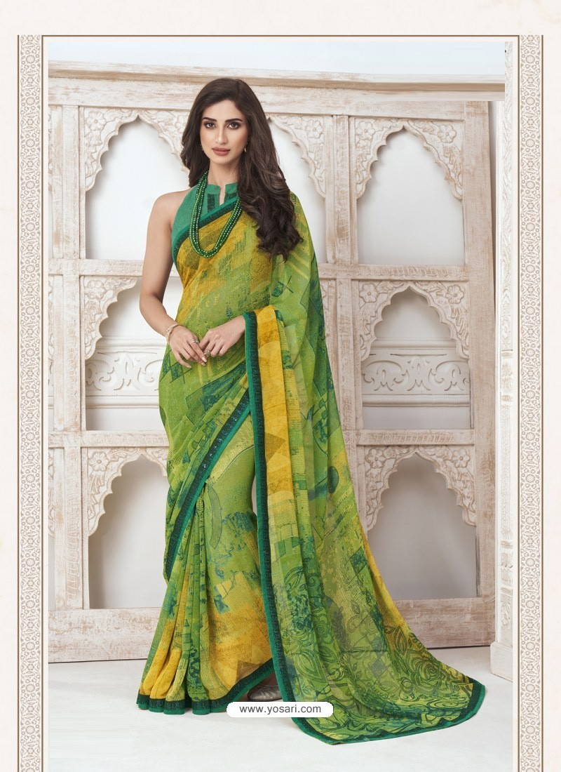 Green Designer Casual Wear Pure Georgette Sari