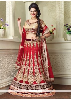 Exquisite Red Zari Work Net A Line Lehenga Choli