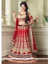 Exquisite Red Zari Work Net A Line Lehenga Choli