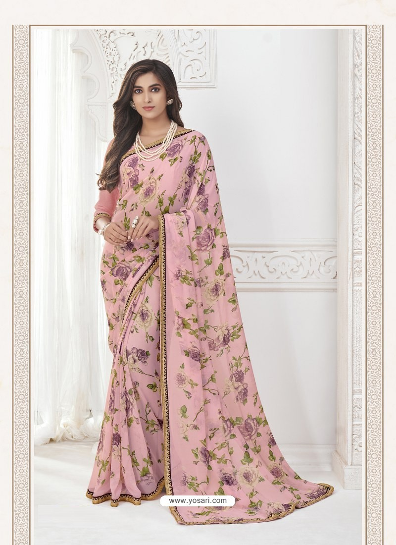 Pink Designer Casual Wear Pure Georgette Sari
