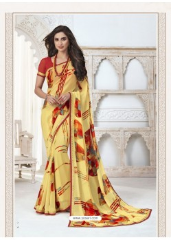 Light Yellow Designer Casual Wear Pure Georgette Sari