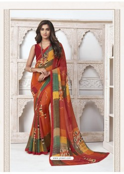Multi Colour Designer Casual Wear Pure Georgette Sari