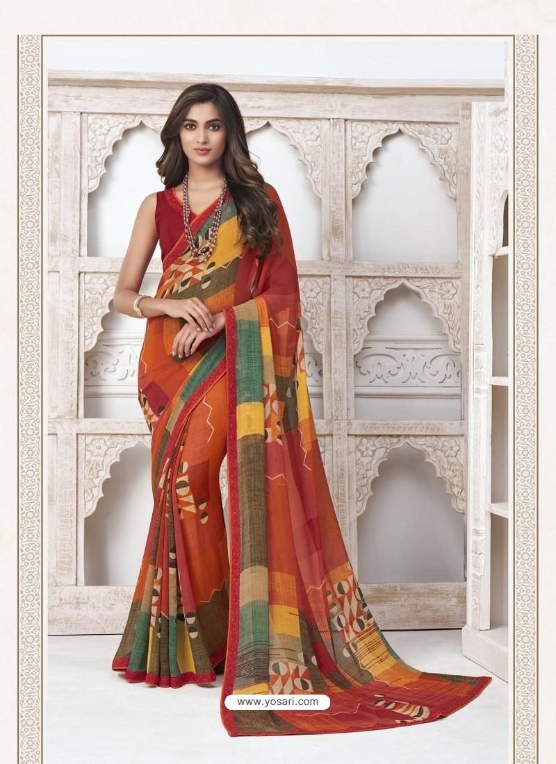 Multi Colour Designer Casual Wear Pure Georgette Sari