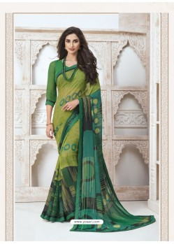Parrot Green Designer Casual Wear Pure Georgette Sari