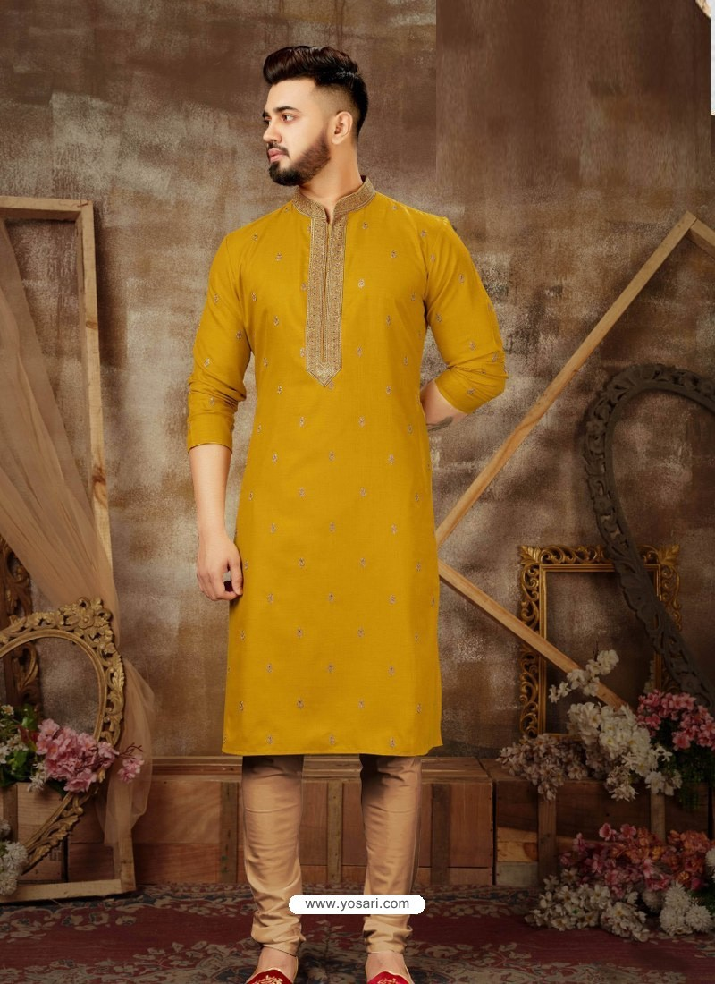 Mustard Readymade Designer Party Wear Kurta Pajama For Men