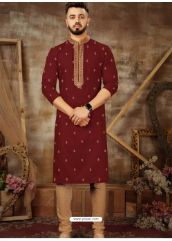Maroon Readymade Designer Party Wear Kurta Pajama For Men