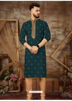 Teal Blue Readymade Designer Party Wear Kurta Pajama For Men