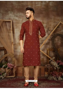 Tomato Red Readymade Designer Party Wear Kurta Pajama For Men