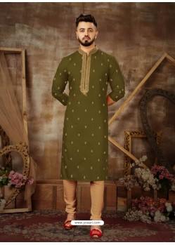 Mehendi Readymade Designer Party Wear Kurta Pajama For Men
