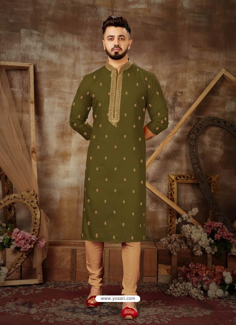 Mehendi Readymade Designer Party Wear Kurta Pajama For Men