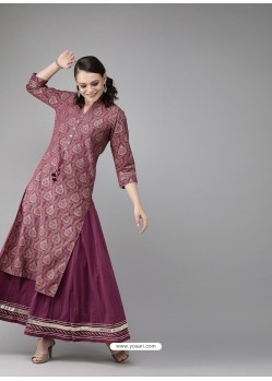 Deep Wine Designer Readymade Party Wear Kurti With Palazzo