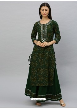 Dark Green Designer Readymade Party Wear Kurti With Palazzo