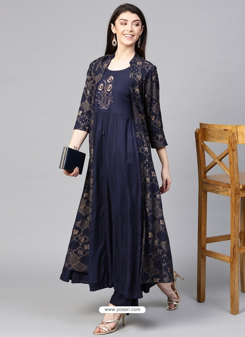 Navy Blue Designer Readymade Party Wear Kurti With Palazzo