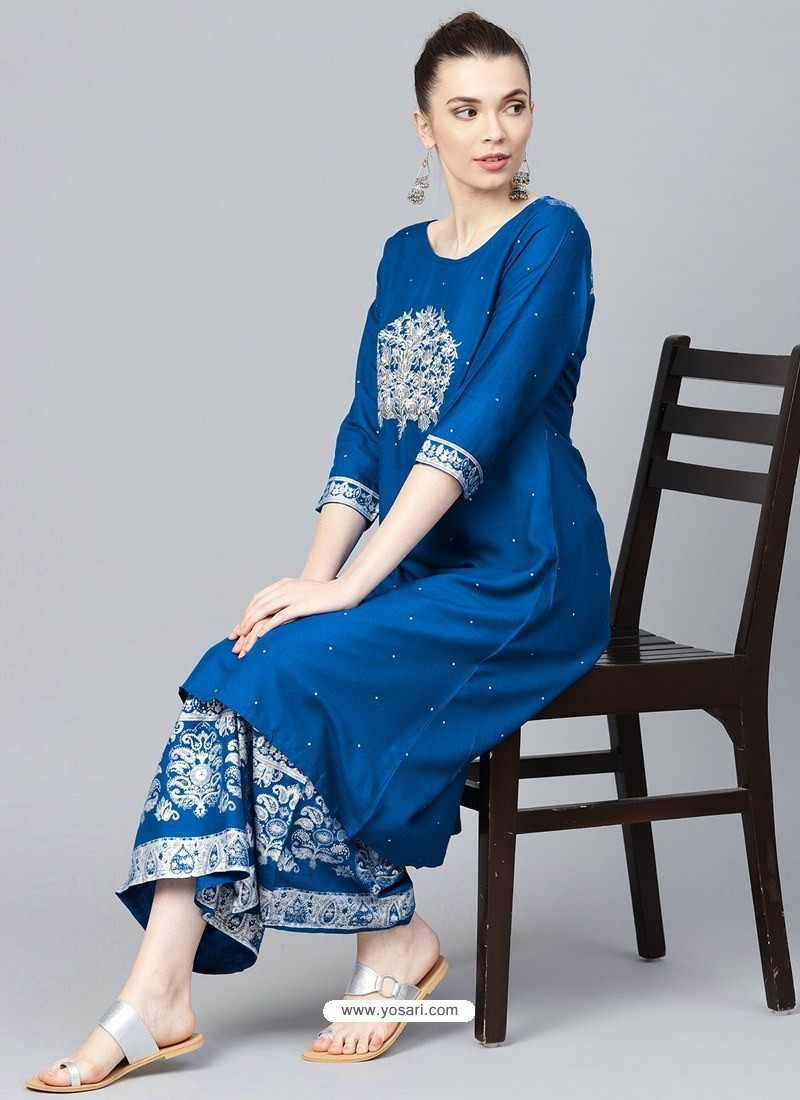 Royal Blue Designer Readymade Party Wear Kurti With Palazzo
