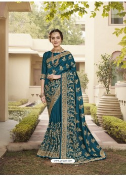 Teal Blue Designer Traditional Wear Heavy Vichitra Blooming Sari