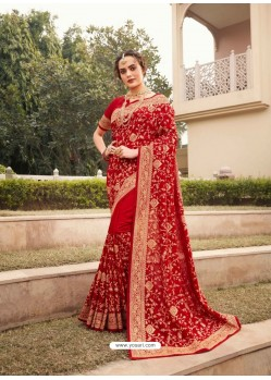 Red Designer Traditional Wear Heavy Vichitra Blooming Sari