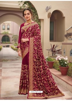 Rose Red Designer Traditional Wear Heavy Vichitra Blooming Sari