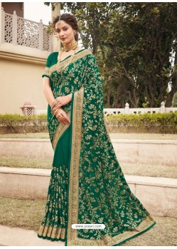 Dark Green Designer Traditional Wear Heavy Vichitra Blooming Sari
