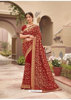 Rust Designer Traditional Wear Heavy Vichitra Blooming Sari