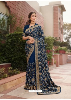 Dark Blue Designer Traditional Wear Heavy Vichitra Blooming Sari