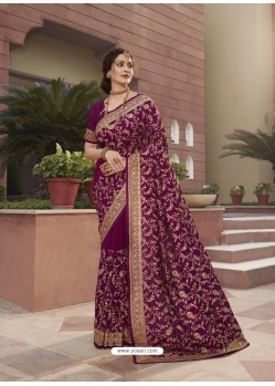 Purple Designer Traditional Wear Heavy Vichitra Blooming Sari