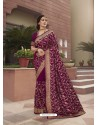 Purple Designer Traditional Wear Heavy Vichitra Blooming Sari