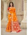 Orange Latest Designer Party Wear Soft Silk Sari