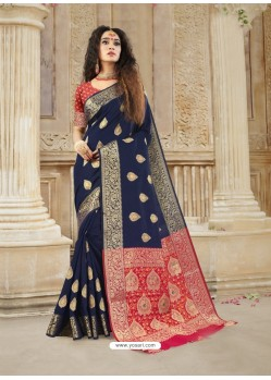 Navy Blue Latest Designer Party Wear Soft Silk Sari