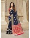 Navy Blue Latest Designer Party Wear Soft Silk Sari
