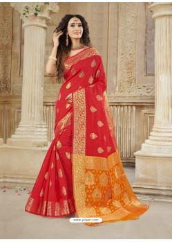 Red Latest Designer Party Wear Soft Silk Sari