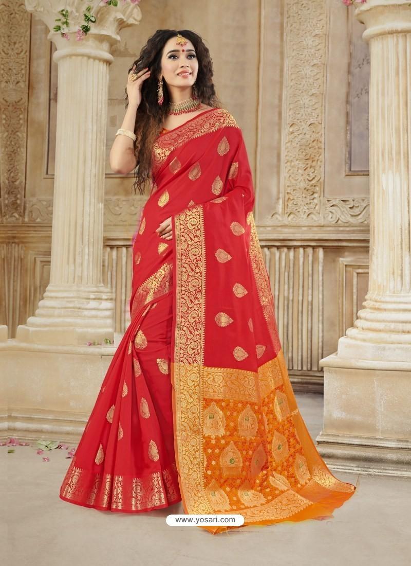 Red Latest Designer Party Wear Soft Silk Sari
