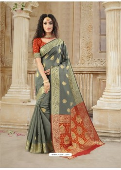 Grey Latest Designer Party Wear Soft Silk Sari