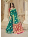 Teal Latest Designer Party Wear Soft Silk Sari