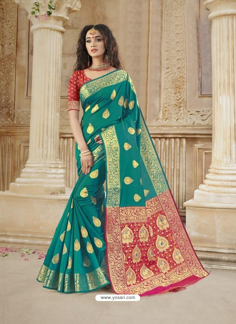Teal Latest Designer Party Wear Soft Silk Sari