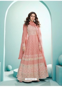 Peach Real Georgette Designer Party Wear Anarkali Suit