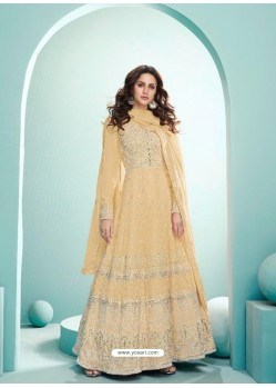 Cream Real Georgette Designer Party Wear Anarkali Suit