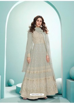 Light Grey Real Georgette Designer Party Wear Anarkali Suit