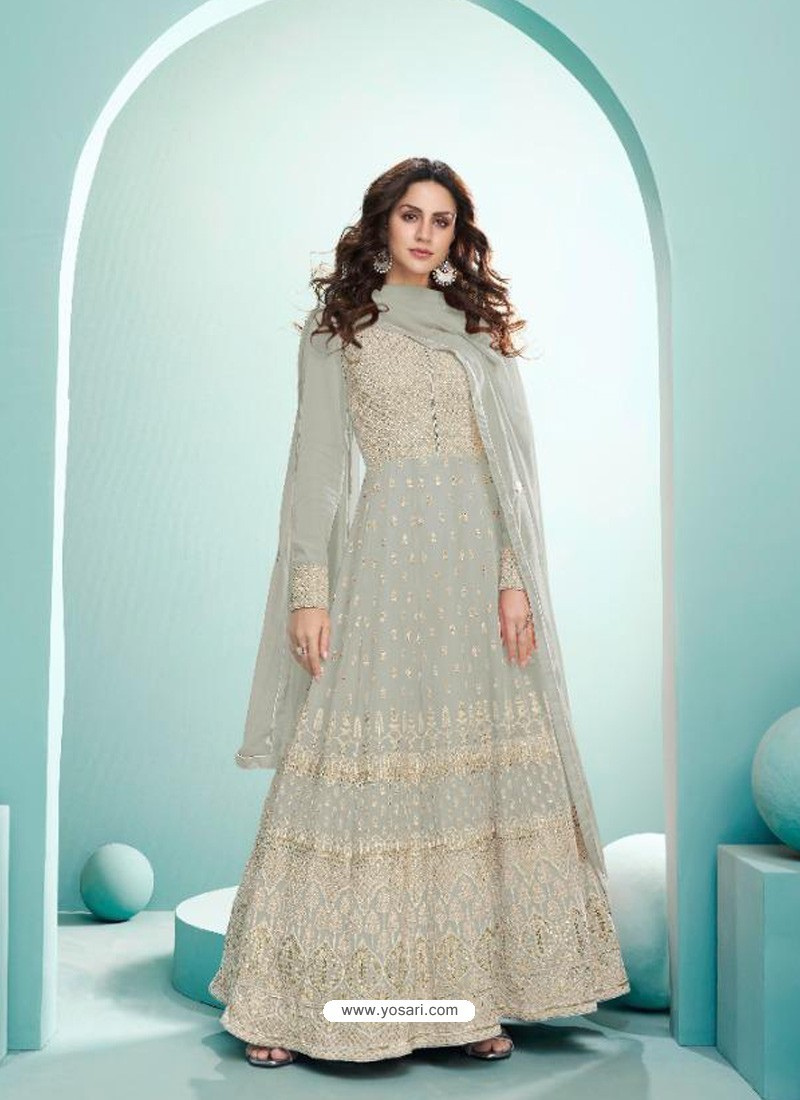 Light Grey Real Georgette Designer Party Wear Anarkali Suit