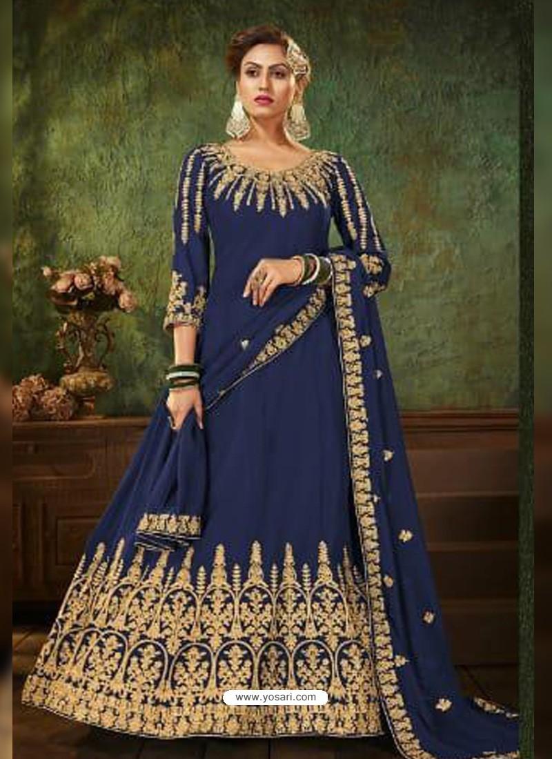 Royal Blue Pure Georgette Designer Party Wear Anarkali Suit