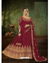 Maroon Pure Georgette Designer Party Wear Anarkali Suit