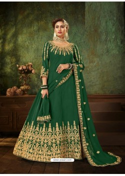 Dark Green Pure Georgette Designer Party Wear Anarkali Suit