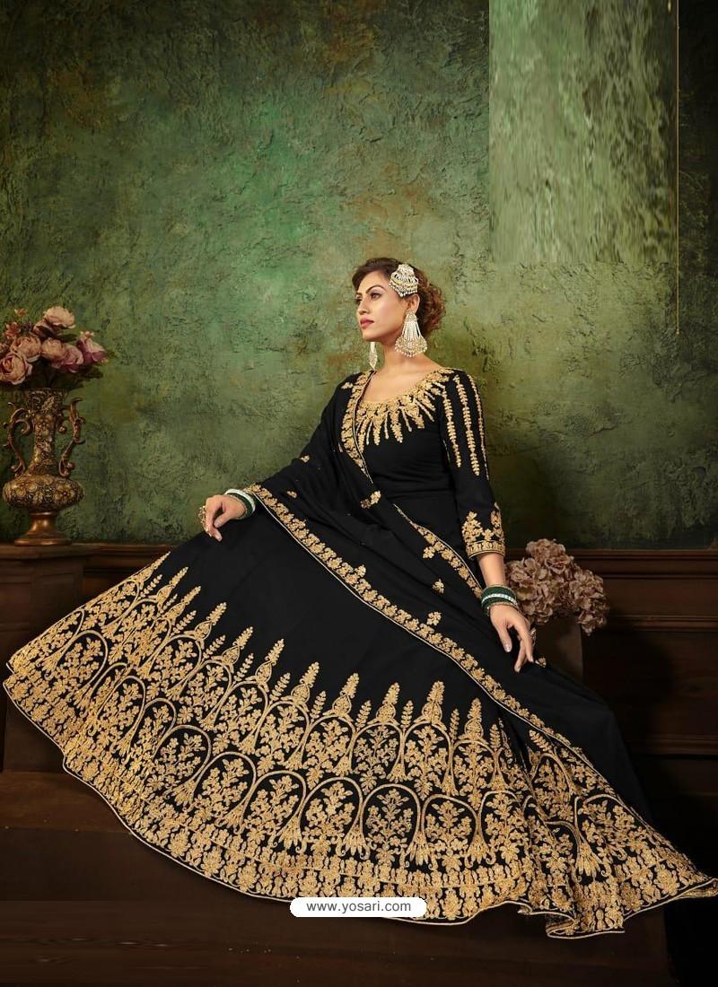 Black Pure Georgette Designer Party Wear Anarkali Suit