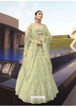 Pista Green Latest Designer Wedding Wear Lehenga Choli